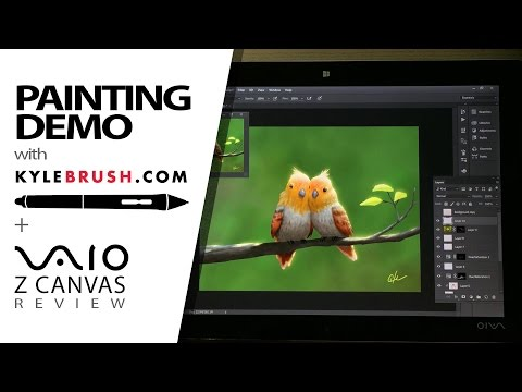 Painting Demo with KyleBrush and Vaio Z Canvas Review