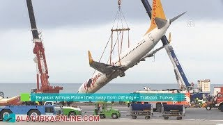 Peagus Airlines plane lifted away from cliff edge after skidding off runway in Turkey's Trabzon thumbnail