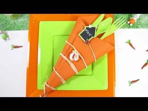 pliage de serviette en forme de carotte youtube. Black Bedroom Furniture Sets. Home Design Ideas