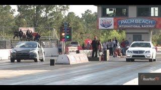 650 HP E63 Bi Turbo AMG vs. Tesla Model S P85 - Drag Race Video - Road Test TV