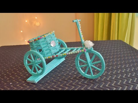 Newspaper Cycle Pen Stand | waste material craft | paper craft idea |parulpawar