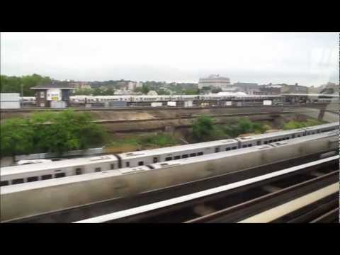 AirTrain ride from JFK airport to Jamaica station, New York, USA.