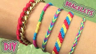 Repeat youtube video DIY Friendship Bracelets. 5 Easy DIY Bracelet Projects!