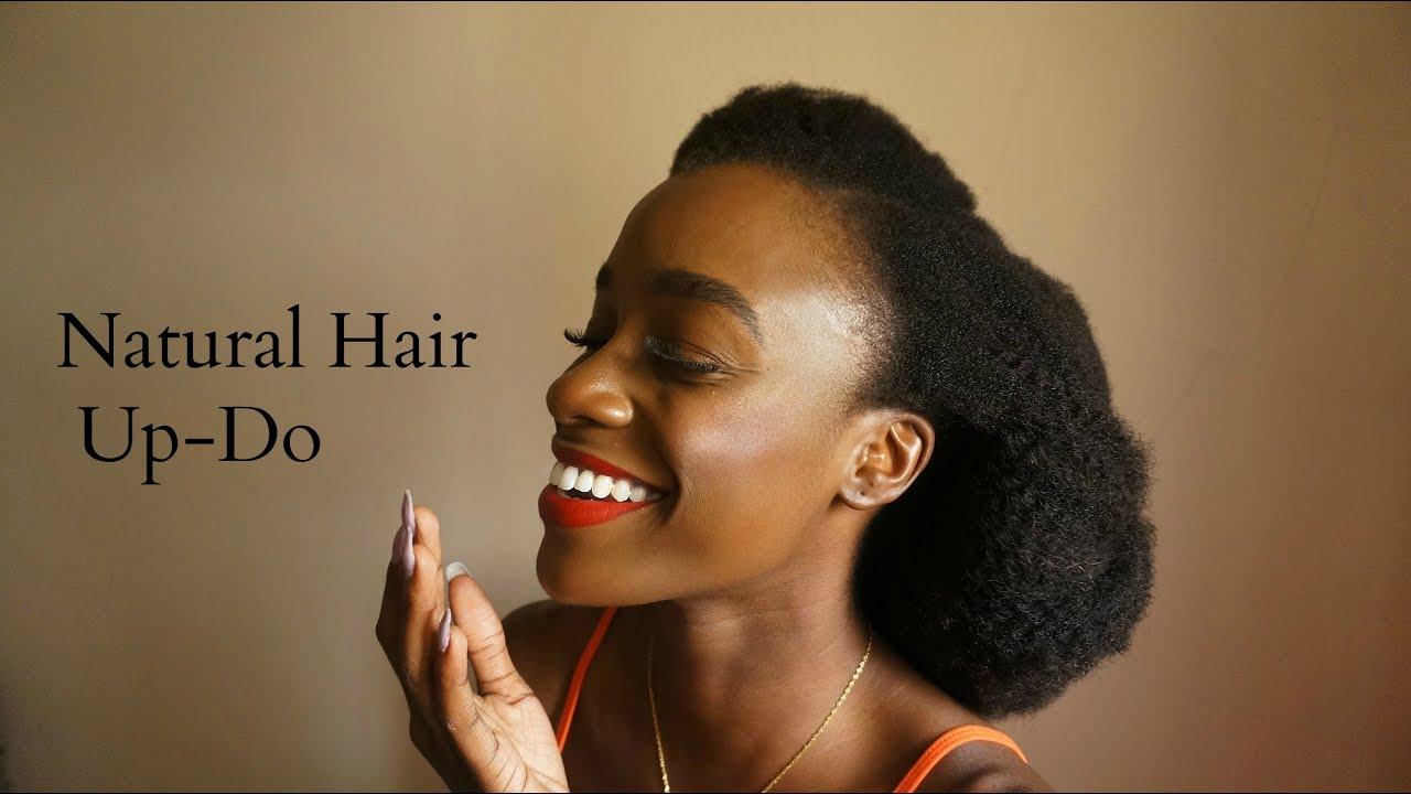 Natural Hair Updo with HerGivenHair - YouTube