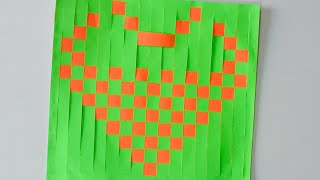Mat Weaving 🧡 - Art and Craft - Heart shape craft ❤️