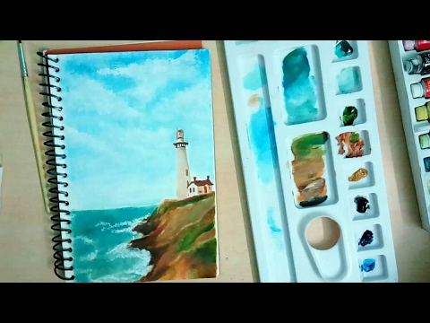 Painting​ Landscape with oil colours-How to paint-how to paint landscape-Sketchbook Diaries