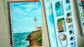 Painting Landscape with oil colours-How to paint-how to paint landscape-Sketchbook Diaries