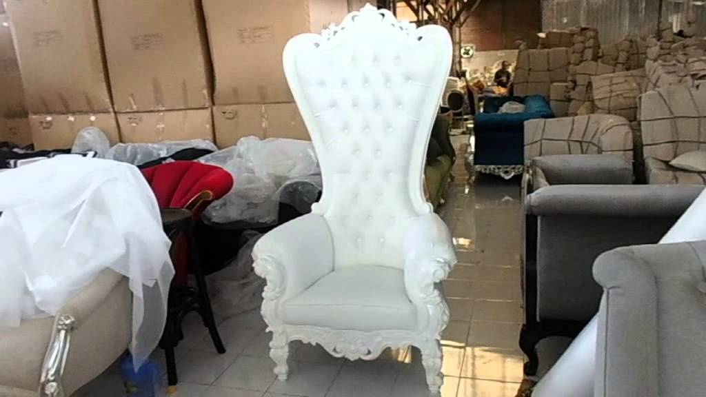 White High Back Throne Chair With Carving