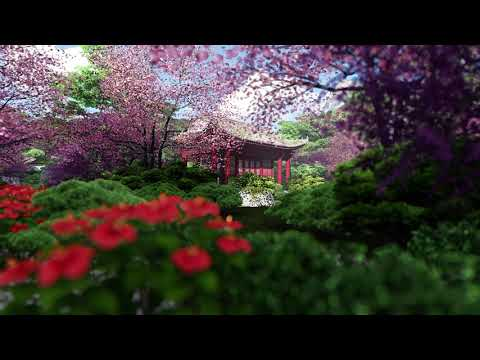( CGI 4k Stock Footage ) Japansese asian buddhist architecture temple zen garden 4
