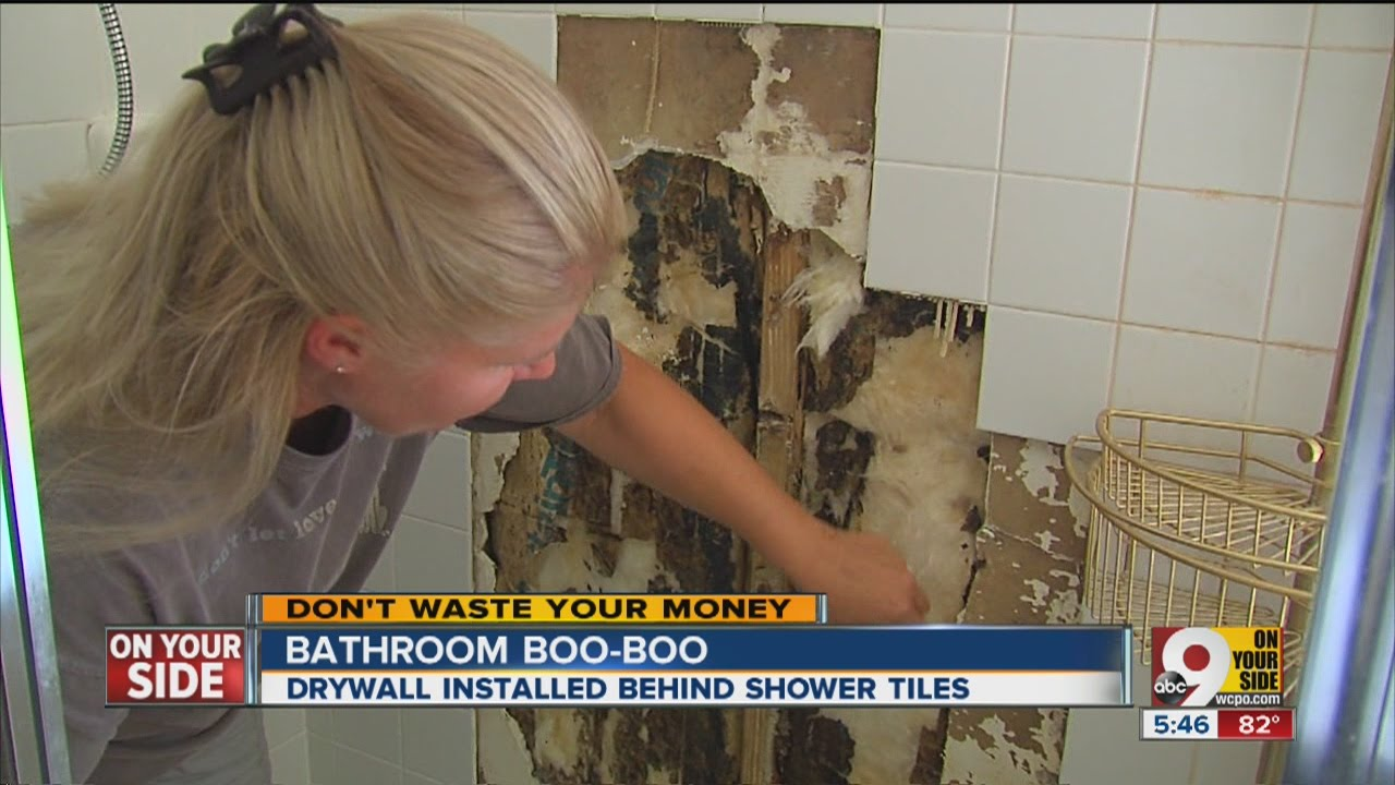 bathroom boo boo drywall installed behind shower tiles