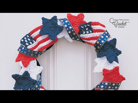 Crochet Stars & Stripes Forever American Wreath