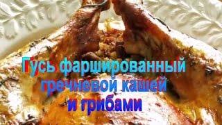 Гусь фаршированный гречневой кашей и грибами.Рецепт приготовления гуся.