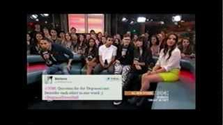 The cast of Degrassi answered my Twitter question on New Music Live...