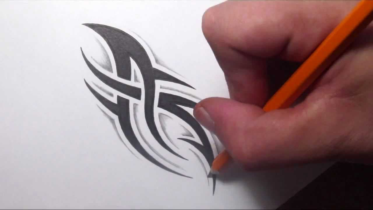 Drawing A Simple Spiky Tribal Tattoo Design With Some Shading  Youtube
