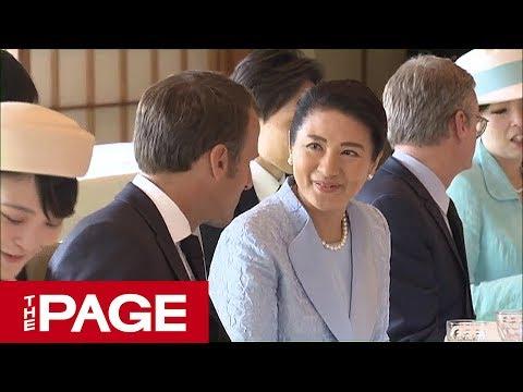 両陛下、マクロン仏大統領夫妻と会見 宮殿で午餐も=宮内庁提供映像(2019年6月27日)
