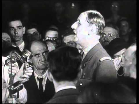 "Speech of De Gaulle "" Martyred Paris, but liberated Paris "" (1944)"