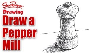 How to draw a Pepper Mill with Stipple Shading