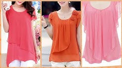 Simple style scope neck solid color  long sleeve chiffon blouses for women