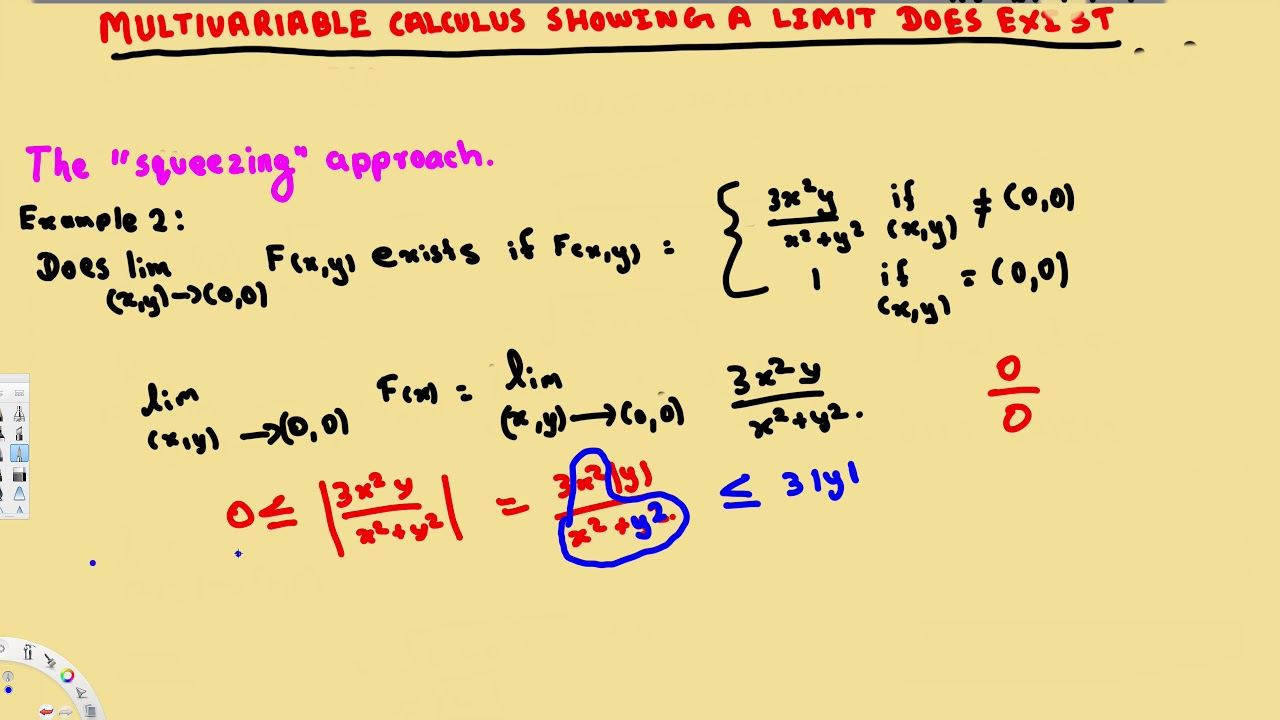 Multivariable Limit How to show a limit exists - Squeezing Approach -  Vector Calculus