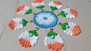 चूड़ी से बनाये Beautiful Rangoli for Republic Day || Easy Kolam || 26 January Special Rangoli –