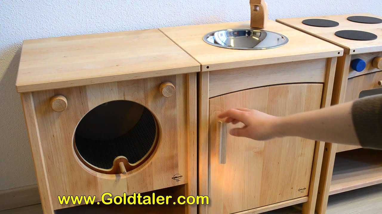 Spielkueche frieda massivholz wwwgoldtalercom youtube for Spielküche holz