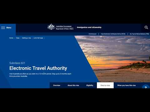 Subclass 601  Electronic Travel Authority Australia