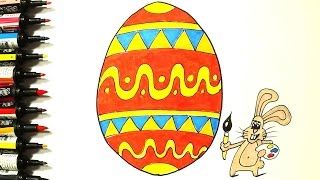 Drawing and Coloring for Kids - Coloring Page Easter Egg - Videos For Kids
