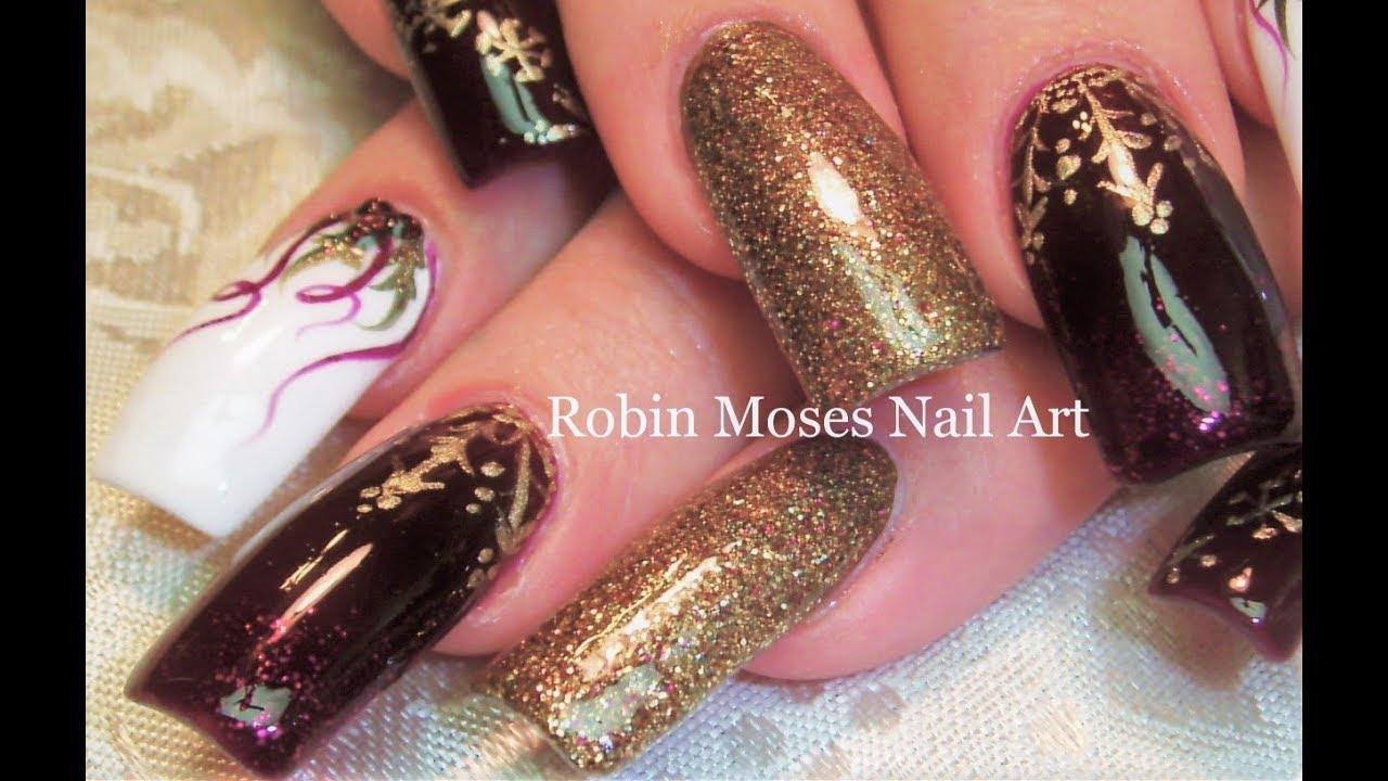gold snowflakes holly nails