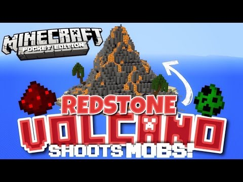 ✔️Minecraft PE - WORKING MOB VOLCANO [REDSTONE] // Redstone Volcano shoots MOBS [MCPE 0.14.2]