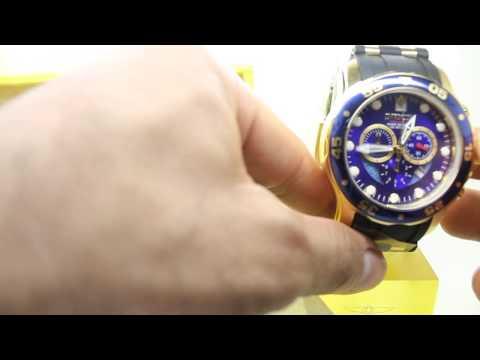 Invicta Mens 6983 Pro Diver Collection Chronograph Blue Dial Black ...
