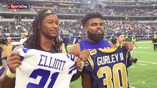 Watch Ezekiel Elliott of the Dallas Cowboys jersey swap with Todd Gurley of LA Rams