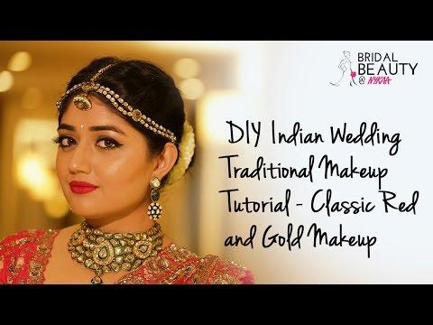 DIY Indian Wedding Makeup Tutorial - Classic Red and Gold Makeup | Corallista