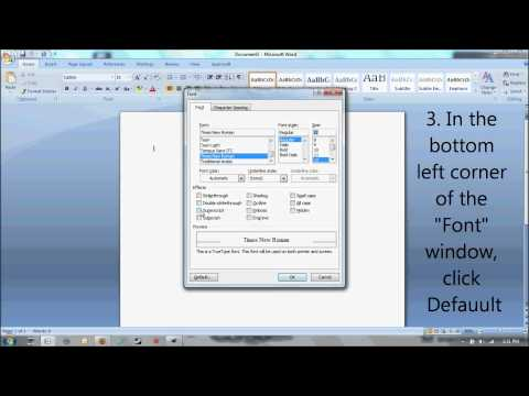 How To Change The Default Font In Microsoft Word From Calibri To Times New Roman Size