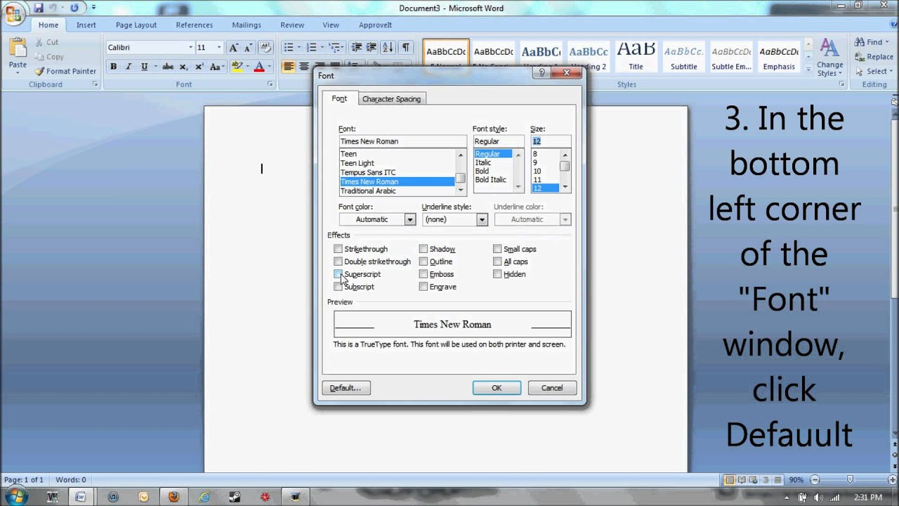 How to change the default font in Microsoft Word from Calibri 11 to ...