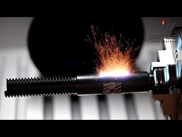 Lotus Laser Systems Meta C 60w MOPA fiber laser engraving a thread insert tool