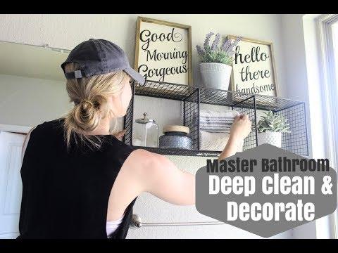 DEEP CLEAN AND DECORATE THE MASTER BATHROOM WITH ME!!   BRITTANI BOREN LEACH