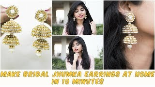 DIY -Make Bridal Jhumka Earrings At Home In 10 Minutes| Paper Earrings |Silk Thread Earrings