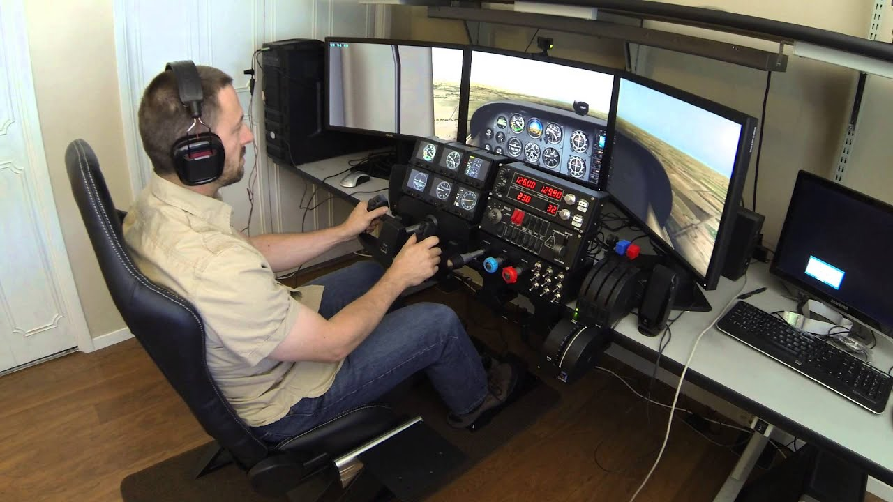 3 Monitor Chair X Plane Simulator With Trackir And Saitek Cessna Pro