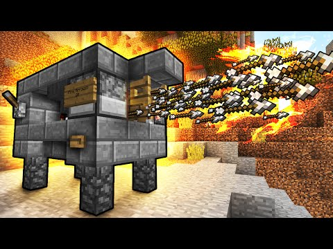 Flaming Arrow Machine Gun! - Minecraft Tutorial (FAST & EASY!)