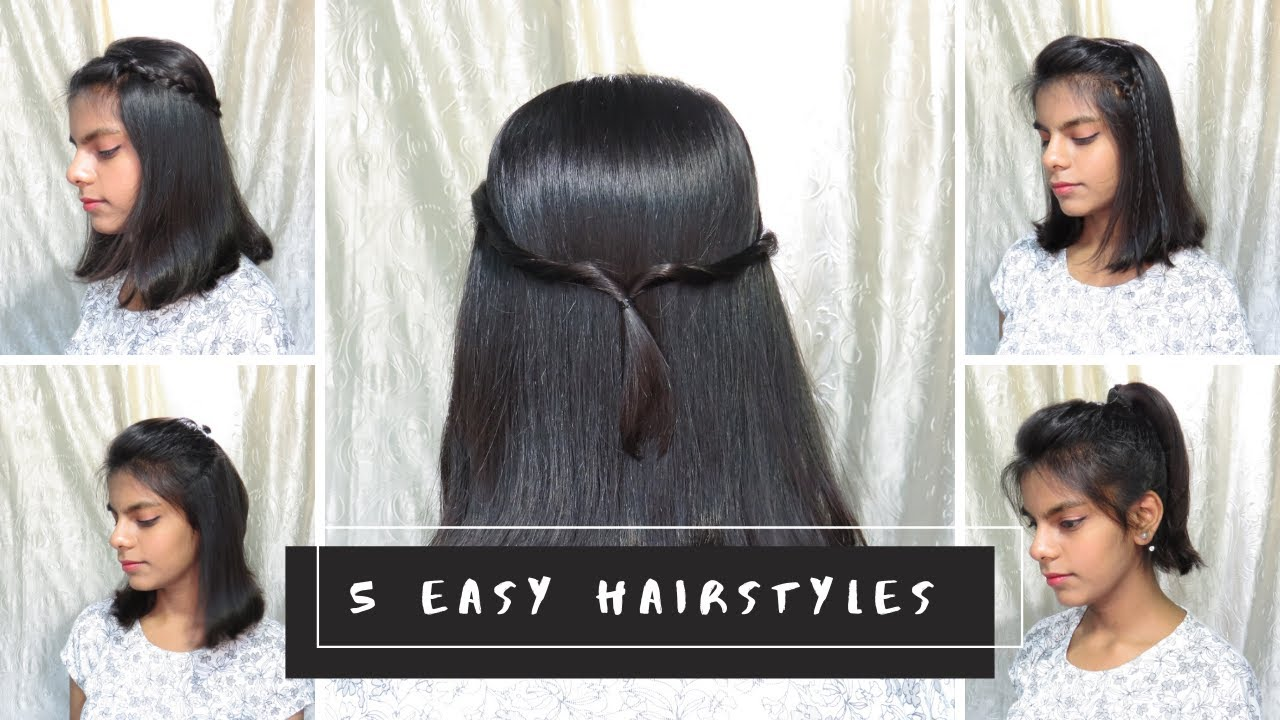 5 Quick And Easy Hairstyles Under 1 Minute For Short Hairs Long Hair Indian Hairstyles Youtube