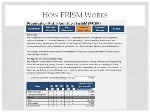UC ERM Toolbox April 2013 - PRISM Library Risk Tool
