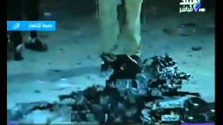 شاهد بقايا السيارة المستخدمة في انفجار مبنى الأمن الوطني بشبرا الخيمة