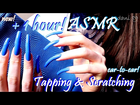 💤 binaural ASMR ✶ ⏱ 1 HOUR of TAPPING + SCRATCHING! 🎧 ↬ long natural nails in blue! 💙 ↫ So tingly! ☾