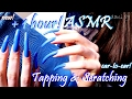 binaural asmr 1 hour of tapping scratching long natural nails in blue so tingly