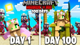 I Survived 100 DAYS on a DESERTED ISLAND in Minecraft .. Here's What Happened