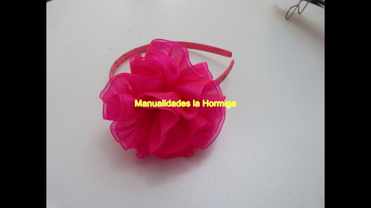 Tutorial flor liston organza how to make a hair bow - Material para hacer diademas ...