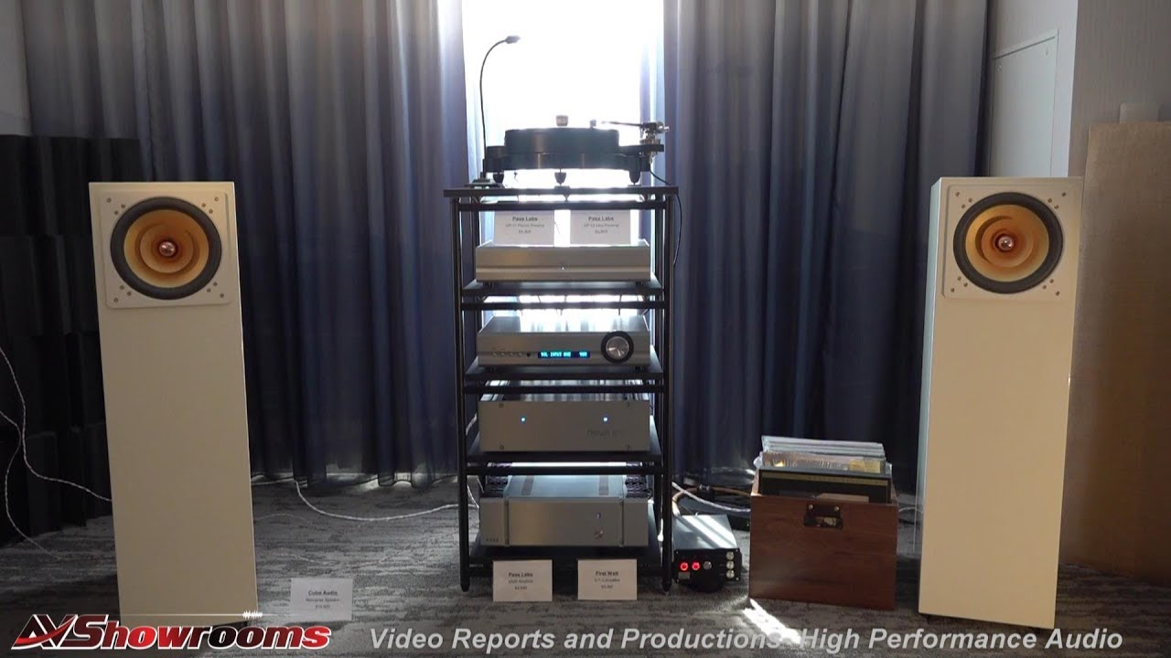 Refined Audio, Cube Nenuphar single driver speakers, Pass Labs First Watt  SIT 3, AXPONA 2019