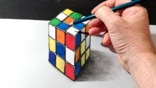 How to Draw 3D Rubik's Cube - Trick Art on Paper
