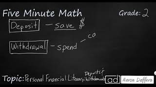2nd Grade Math Personal Financial Literacy: Deposits and Withdrawals