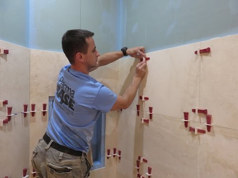 """Part """"1"""" Travertine Tiles installation on shower walls - step by step - how to with T-LOCK™"""